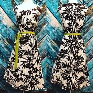 Dress Barn Brown Green Floral Fit Flare Dress